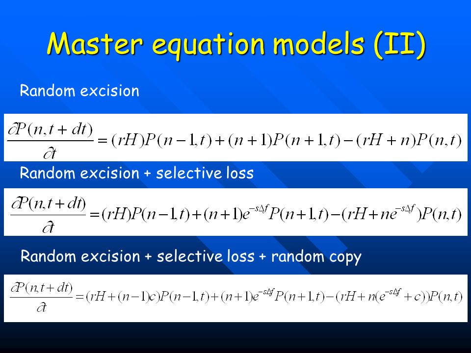 Master equation models (II)