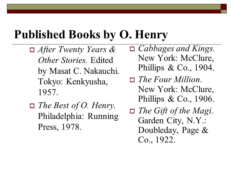 Published Books by O. Henry