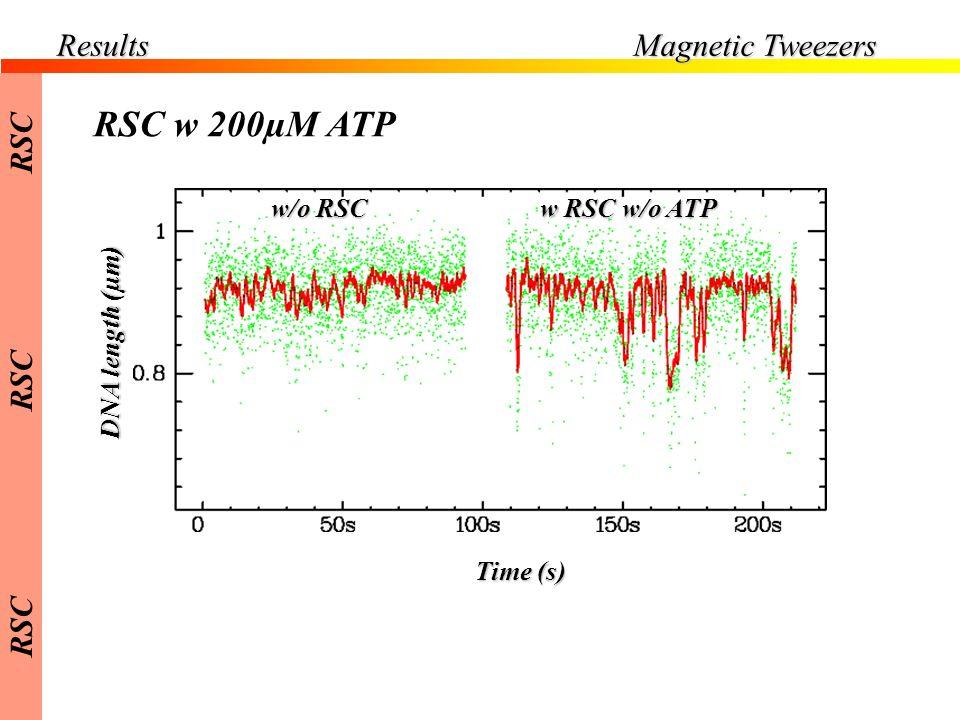 RSC w 200µM ATP Results Magnetic Tweezers RSC w/o RSC w RSC w/o ATP