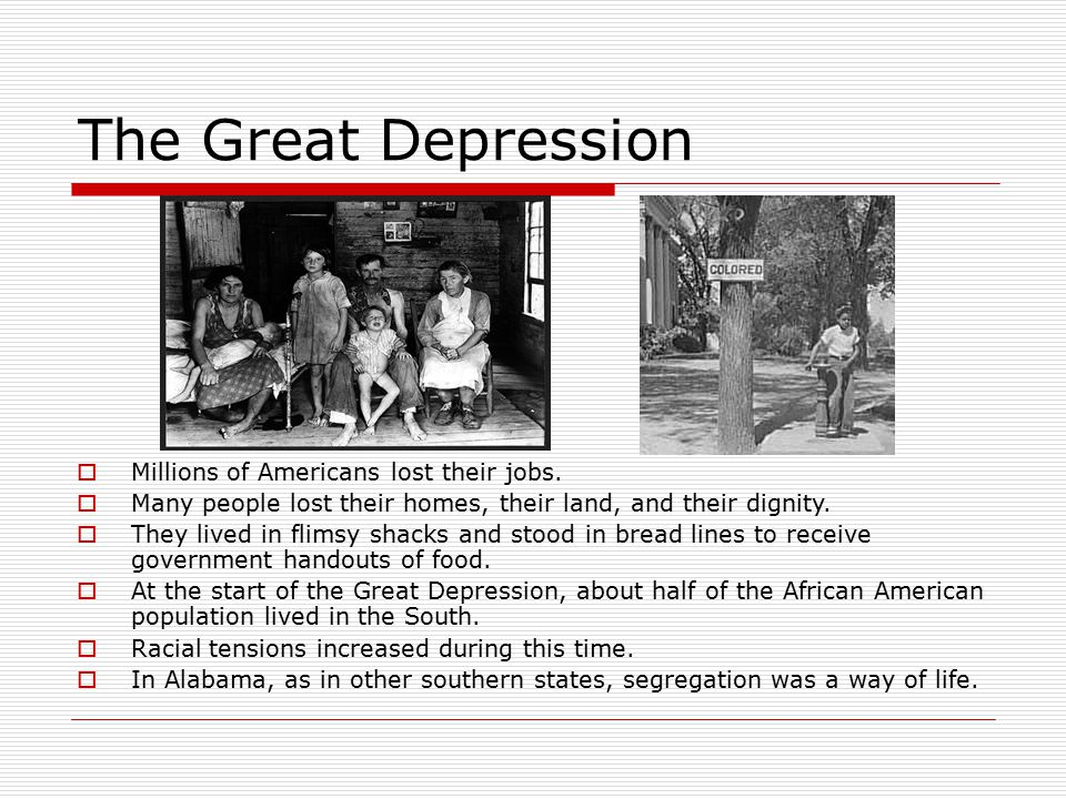 great depression to kill a mockingbird A summary of part one, chapter 1 in harper lee's to kill a mockingbird learn exactly what happened in this chapter, scene, or section of to kill a mockingbird and what it means.