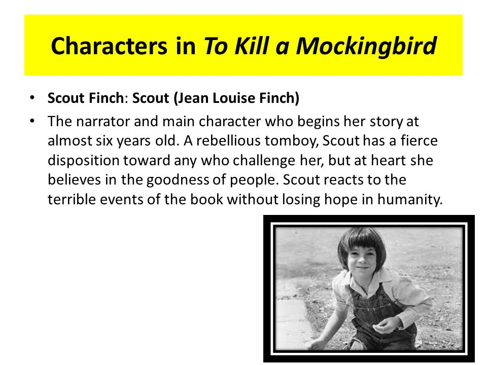 "to kill a mockingbird character esssay The main characters of the book are atticus finch, a lawyer his daughter, a six-year-old girl jean louise finch (nicknamed scout), a protagonist her brother jeremy (jem) a neighborhood boy dill a reclusive man arthur radley (""boo"") tom robinson, a local black man accused of a rape of a white woman, as well as mayella ewell, a daughter of the town drunk, a woman accusing tom of raping."
