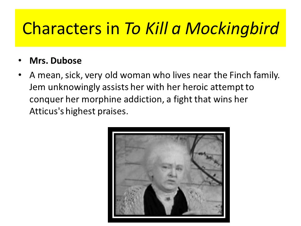 to kill a mockingbird mrs dubose Answer to: who is mrs henry lafayette dubose in to kill a mockingbird by signing up, you'll get thousands of step-by-step solutions to your.