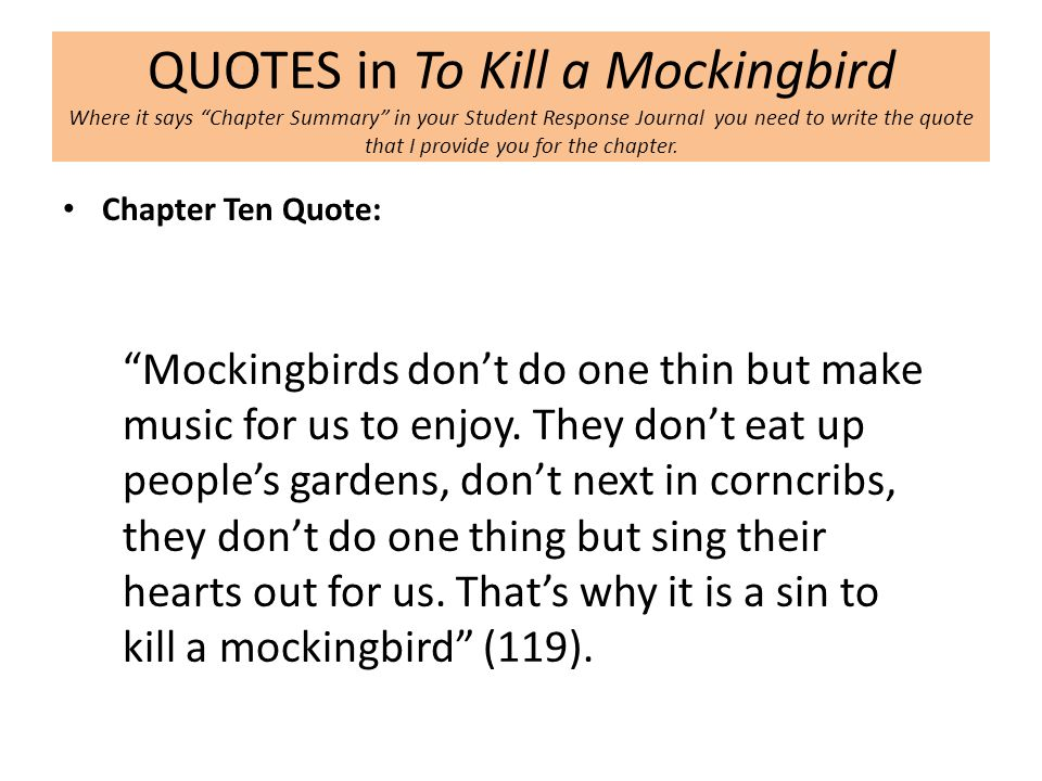 to stop an important mockingbird article outline