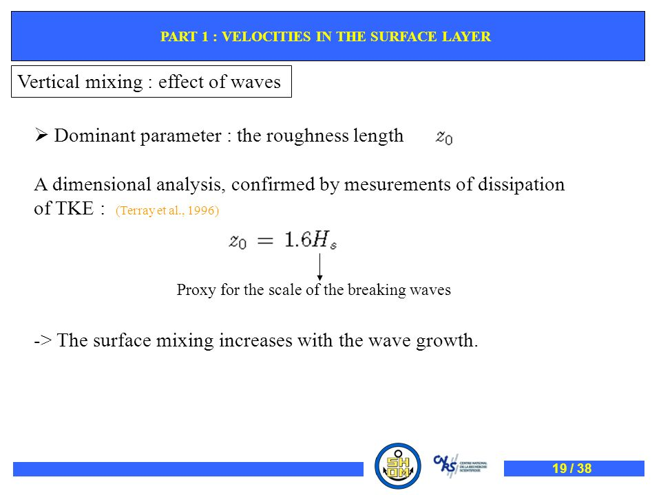 Vertical mixing : effect of waves