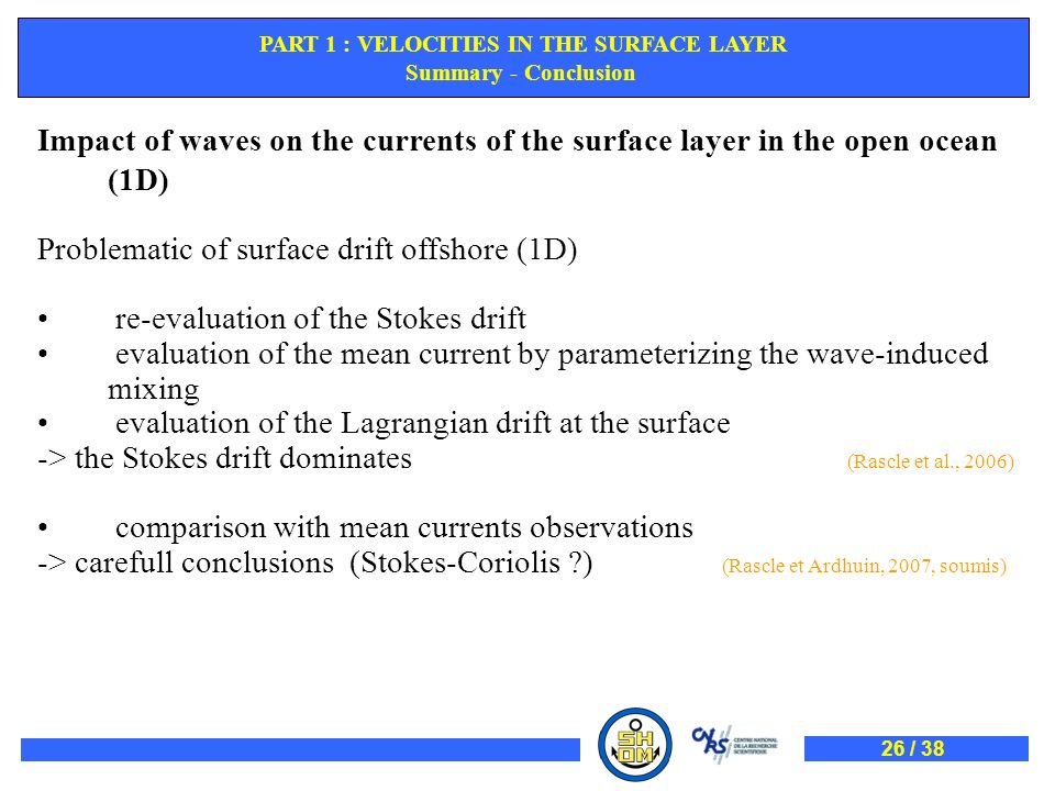 PART 1 : VELOCITIES IN THE SURFACE LAYER