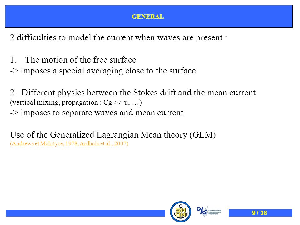 2 difficulties to model the current when waves are present :