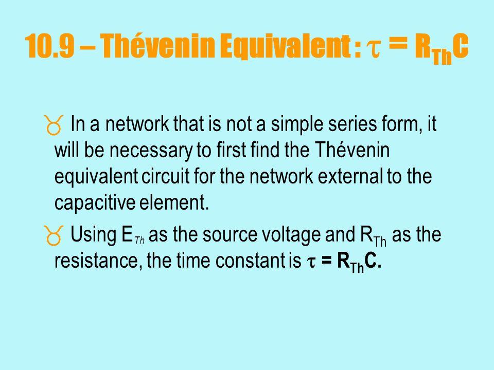 10.9 – Thévenin Equivalent :  = RThC