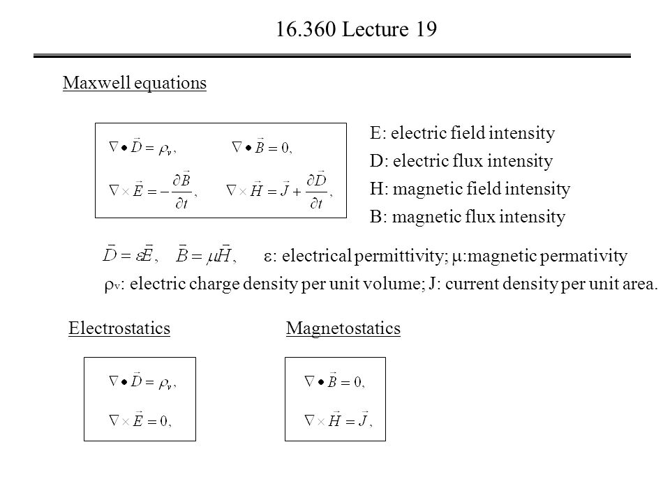 Lecture 19 Maxwell Equations E Electric Field Intensity