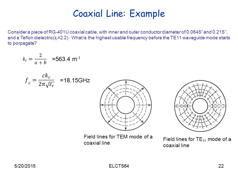 Coaxial Line: Example =563.4 m-1 =18.15GHz