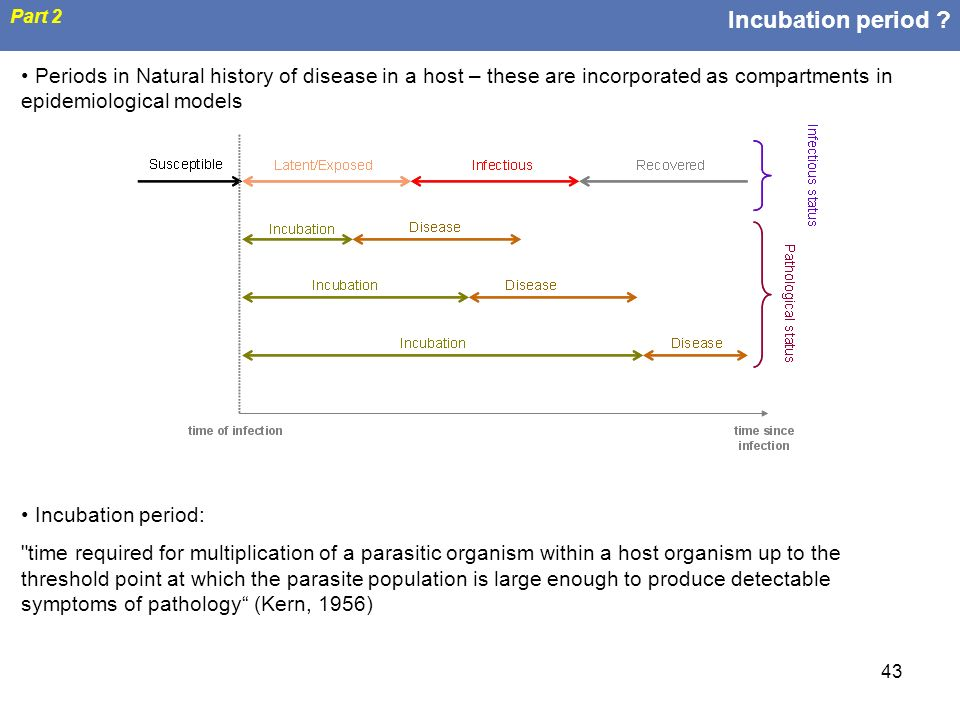 Incubation period Part 2. Periods in Natural history of disease in a host – these are incorporated as compartments in epidemiological models.