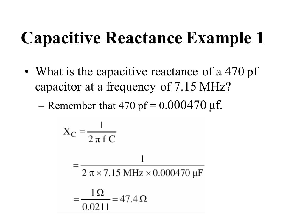 Capacitive Reactance Example 1
