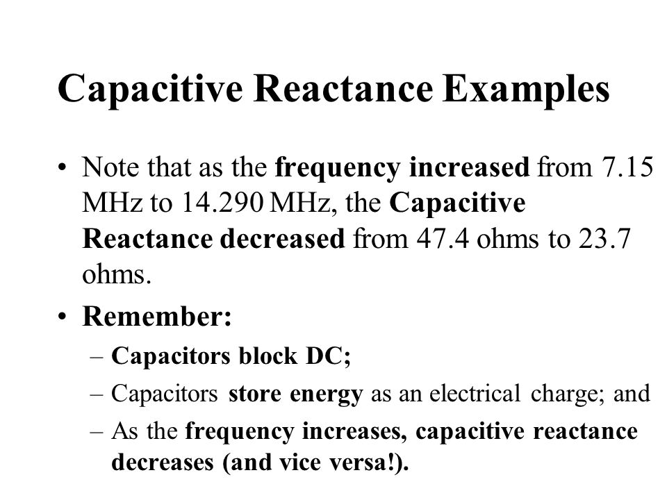 Capacitive Reactance Examples