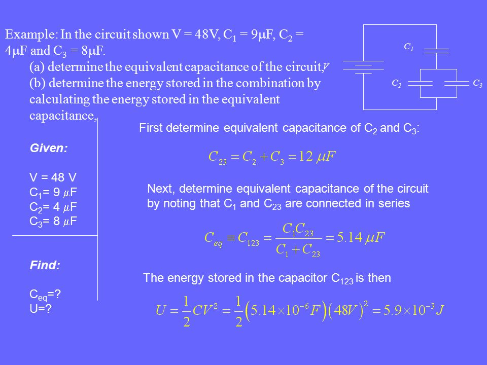(a) determine the equivalent capacitance of the circuit,