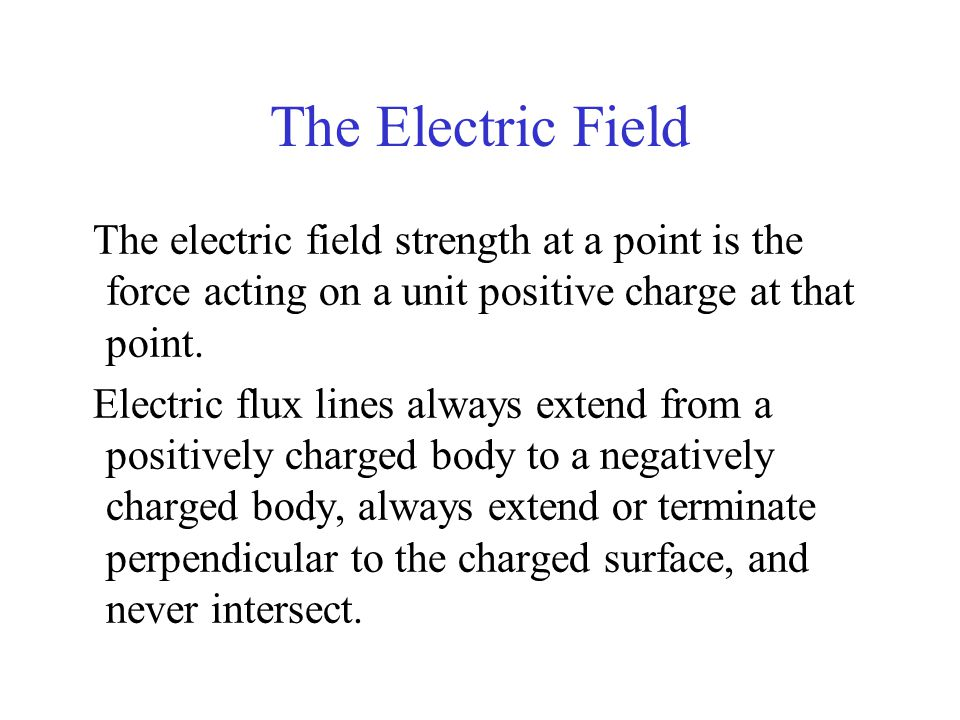 The Electric Field The electric field strength at a point is the force acting on a unit positive charge at that point.