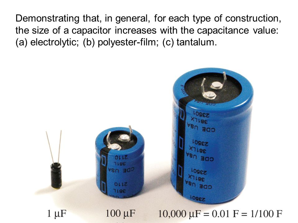 Demonstrating that, in general, for each type of construction, the size of a capacitor increases with the capacitance value: (a) electrolytic; (b) polyester-film; (c) tantalum.