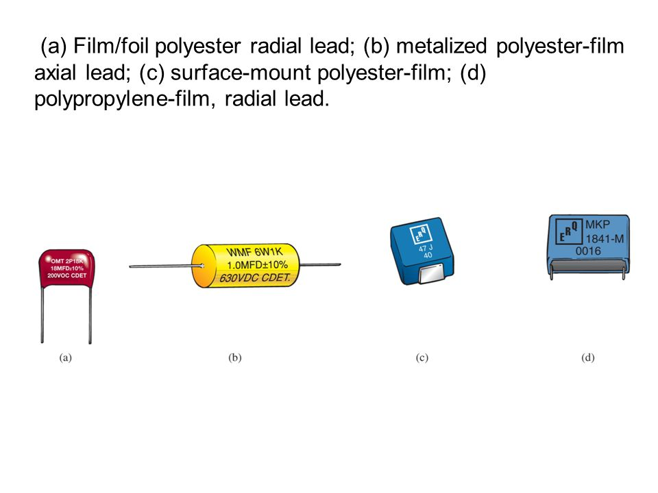 (a) Film/foil polyester radial lead; (b) metalized polyester-film axial lead; (c) surface-mount polyester-film; (d) polypropylene-film, radial lead.