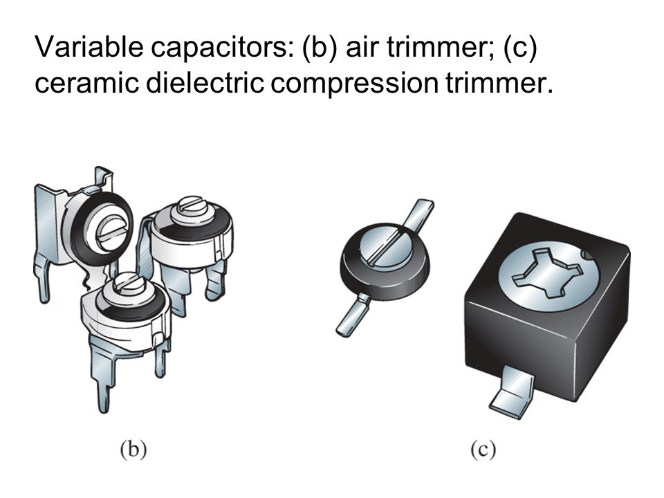 Variable capacitors: (b) air trimmer; (c) ceramic dielectric compression trimmer.