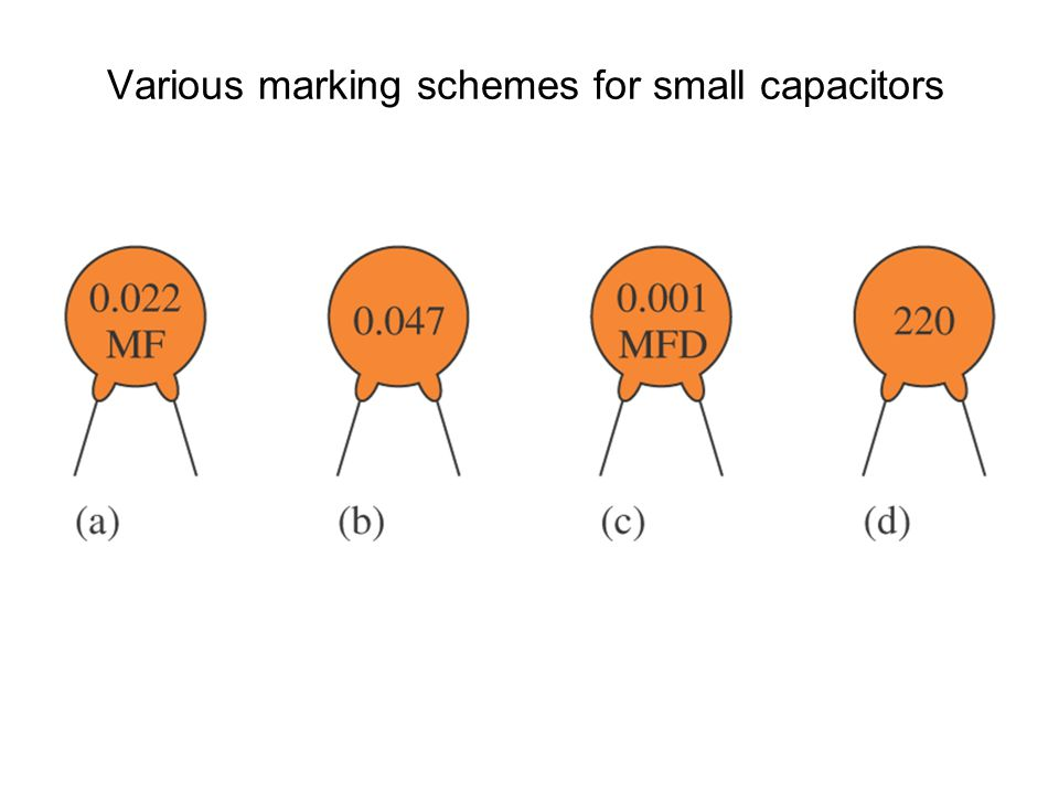 Various marking schemes for small capacitors