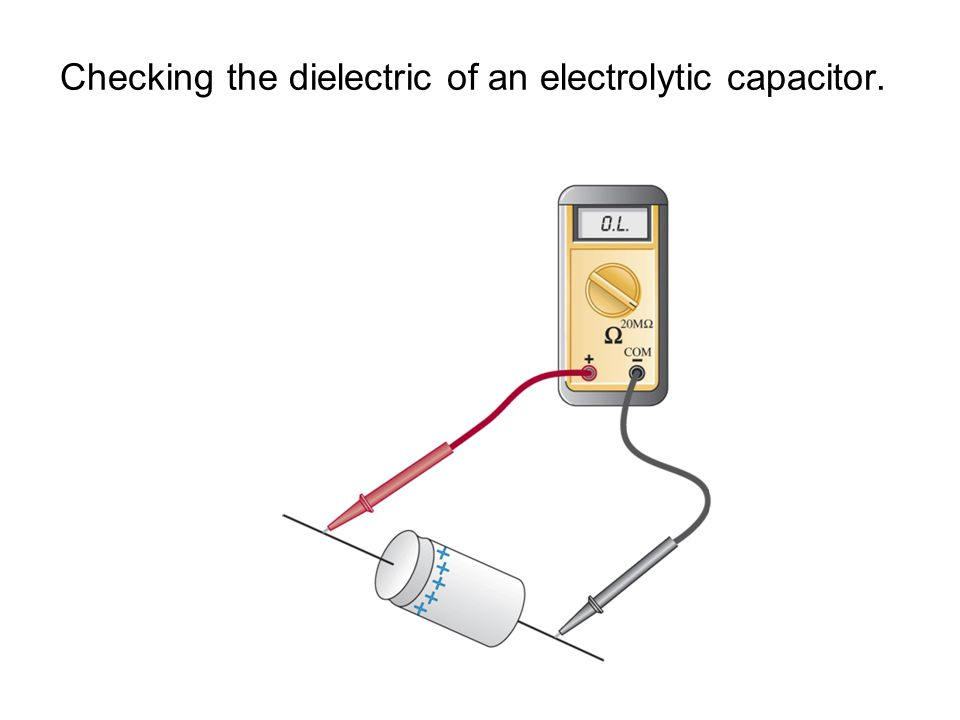 Checking the dielectric of an electrolytic capacitor.