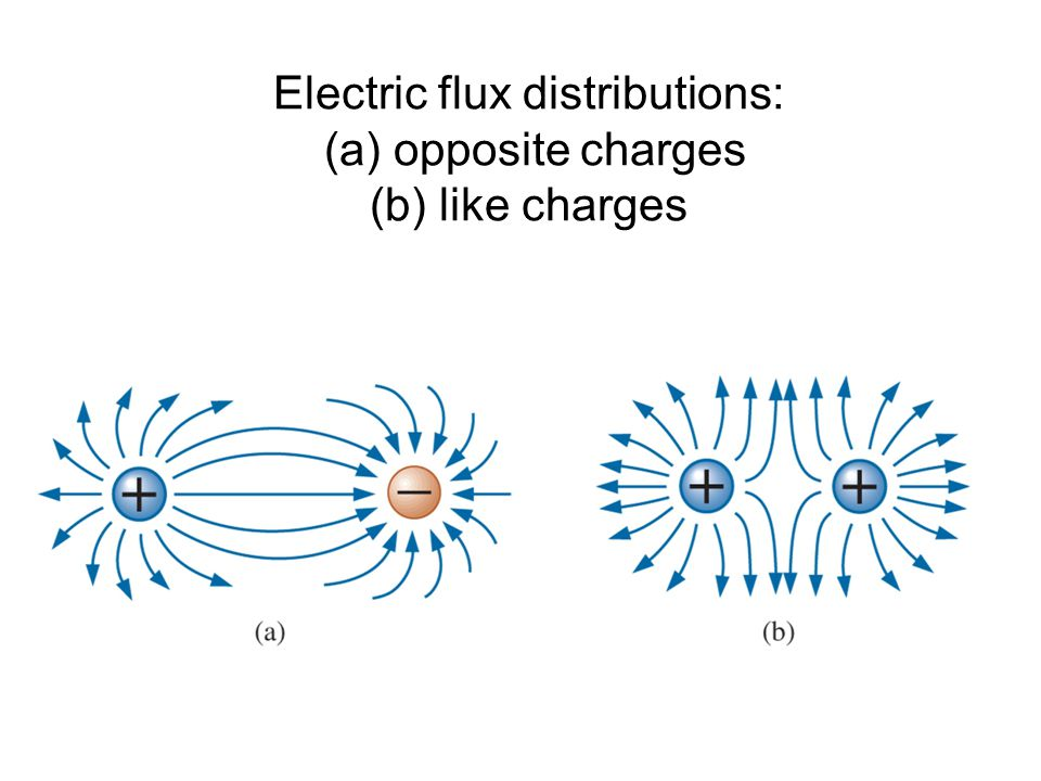 Electric flux distributions: (a) opposite charges (b) like charges