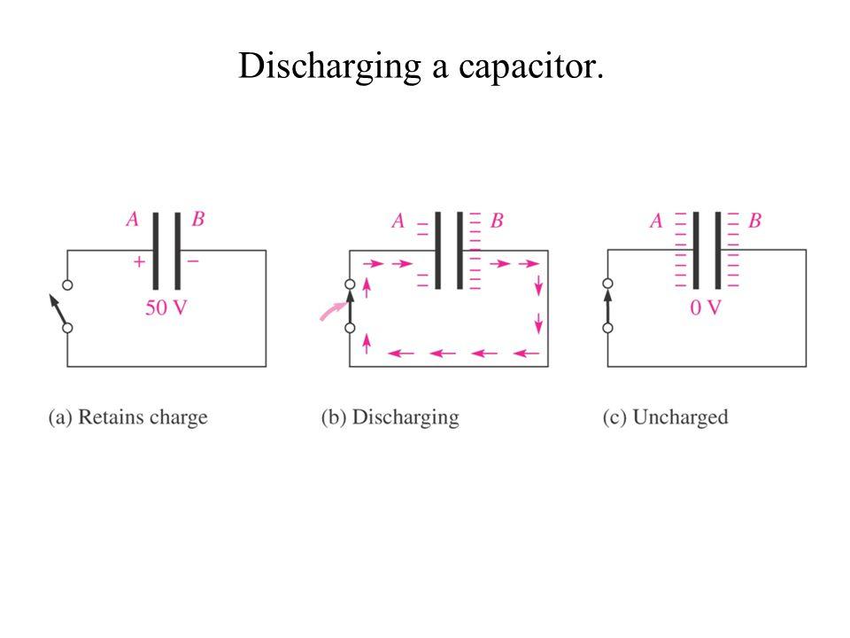 Discharging a capacitor.
