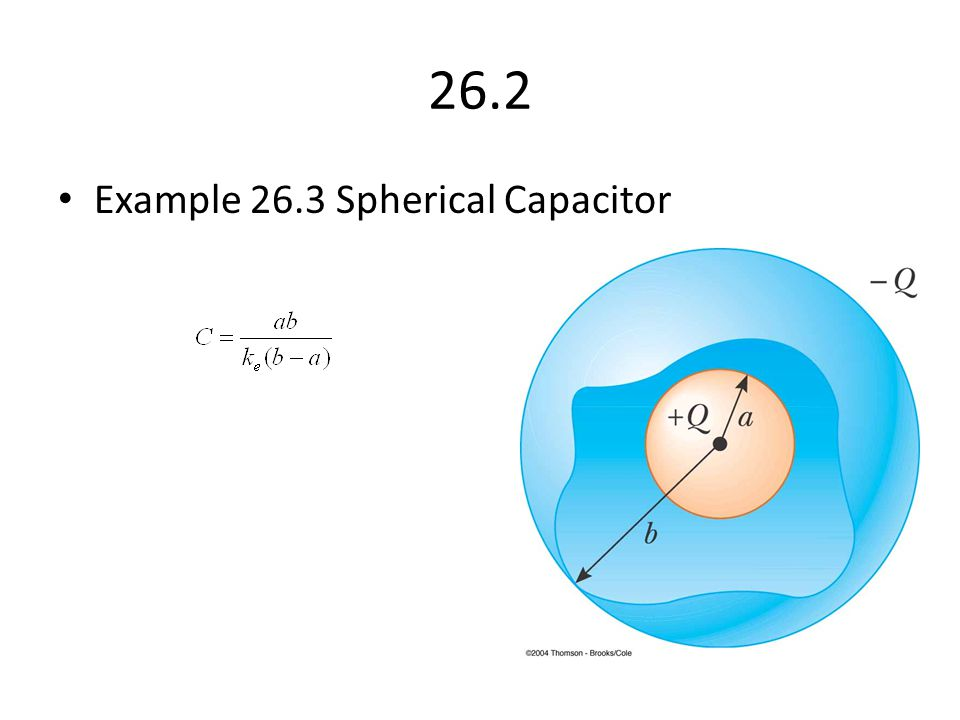26.2 Example 26.3 Spherical Capacitor