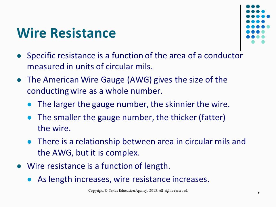 Relationship between a conductors length and wire