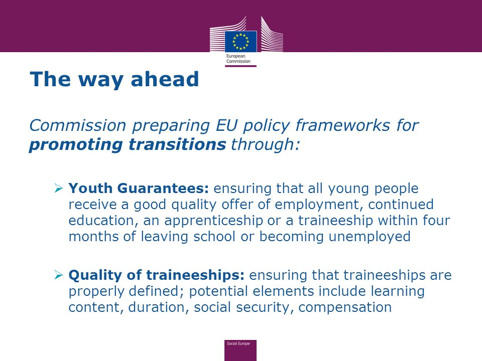 The way ahead Commission preparing EU policy frameworks for promoting transitions through:
