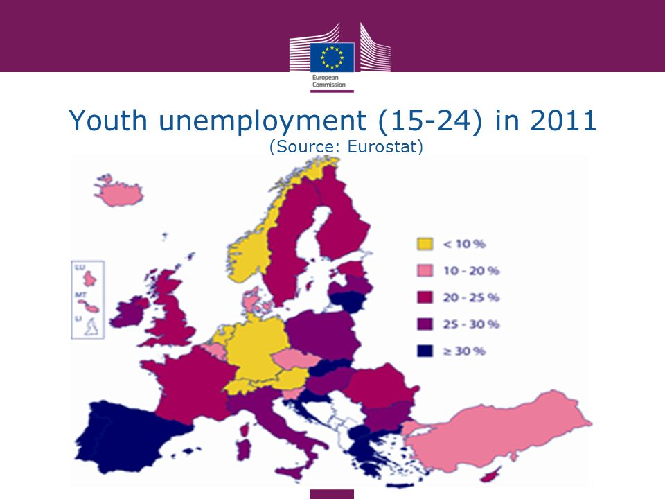 Youth unemployment (15-24) in 2011 (Source: Eurostat)