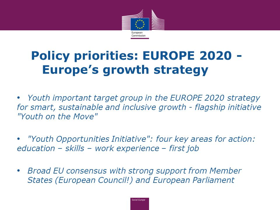 Policy priorities: EUROPE 2020 - Europe's growth strategy