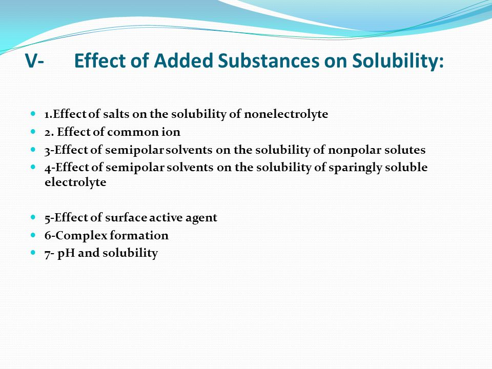 chem173 6 solutions and solubility At the maximum concentration of solute, the solution is said to be saturated   the solubility of a solid or liquid can increase or decrease as temperature  6  kuckelkorn r, schrage n, keller g, redbrake c emergency.