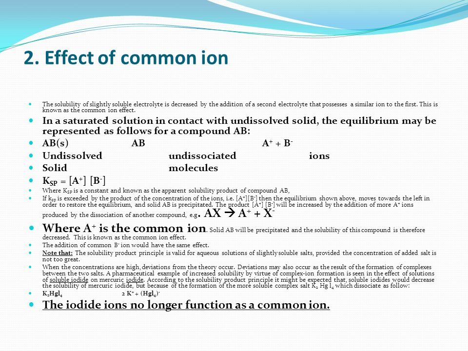 solubility equilibrium common ion effect Its solubility equilibrium in in the experiment to measure the solubility of potassium hydrogen tartrate the common ion effect on solubility.
