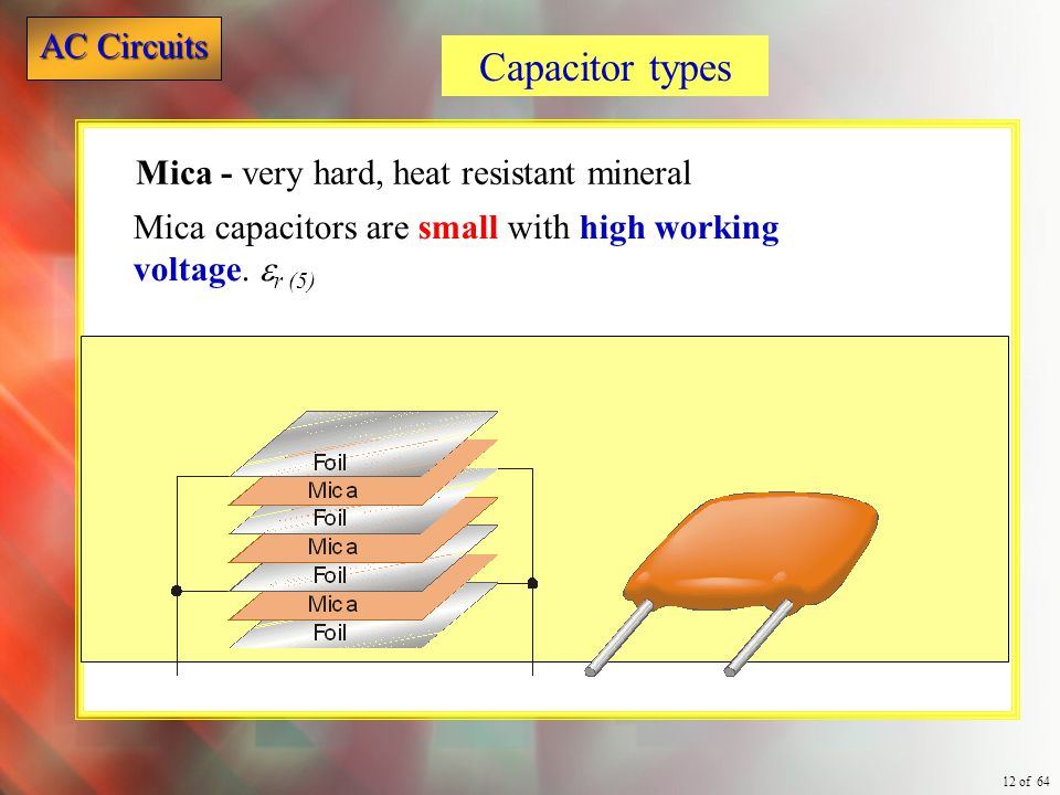 Capacitor types Mica - very hard, heat resistant mineral