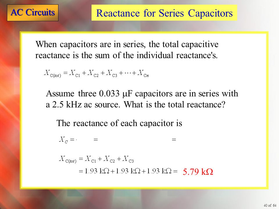 Reactance for Series Capacitors