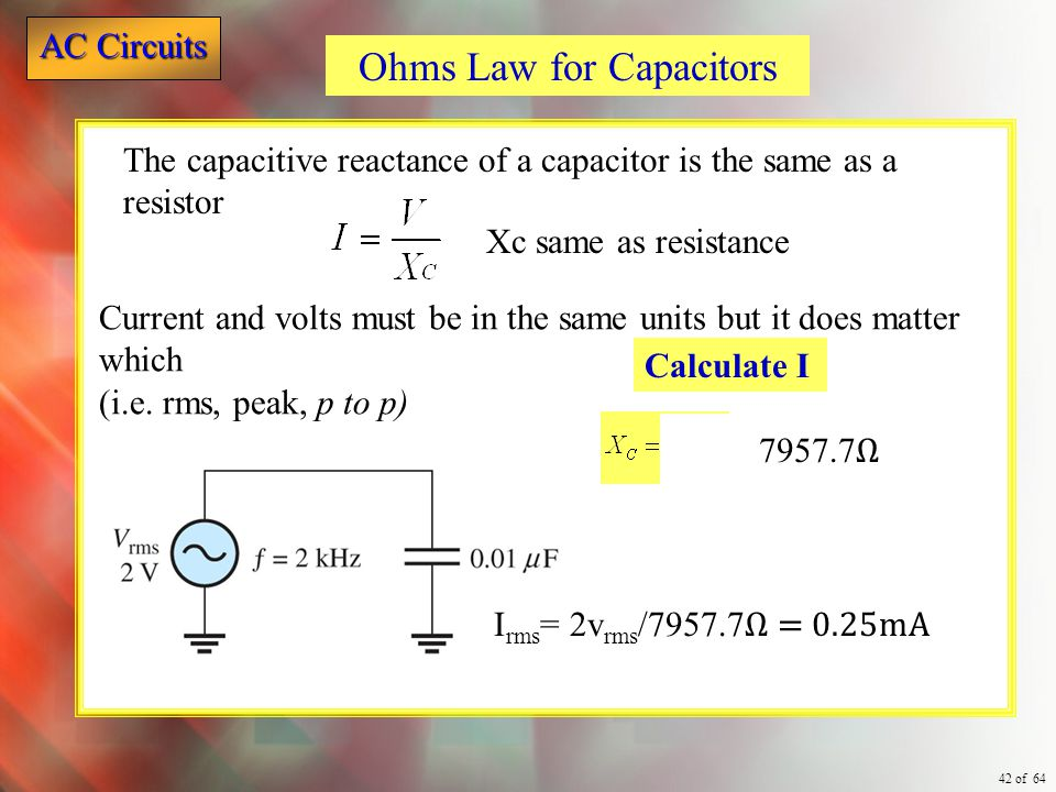Ohms Law for Capacitors