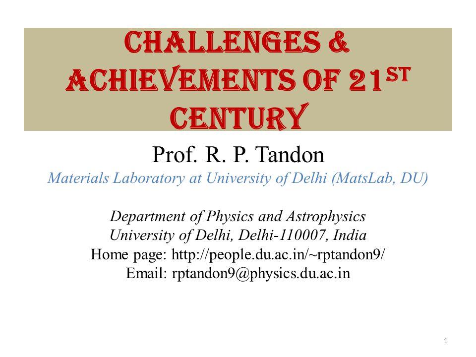 Challenges & Achievements of 21st Century