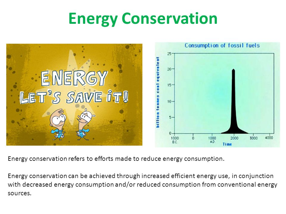 Energy Conservation Energy conservation refers to efforts made to reduce energy consumption.