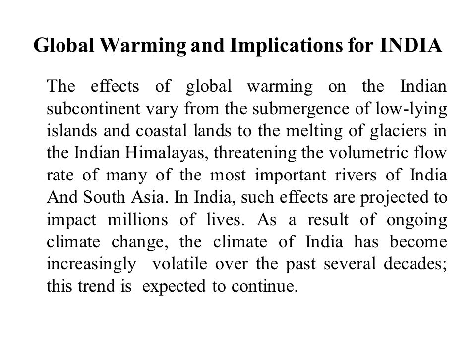 Global Warming and Implications for INDIA