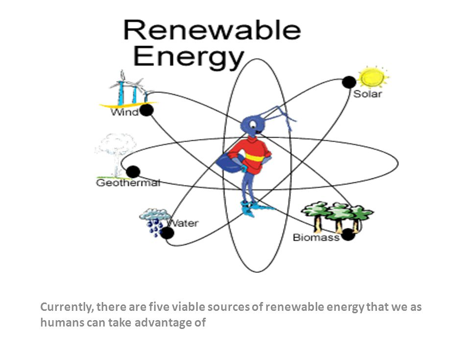 Currently, there are five viable sources of renewable energy that we as humans can take advantage of