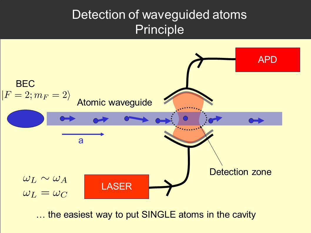 Detection of waveguided atoms Principle
