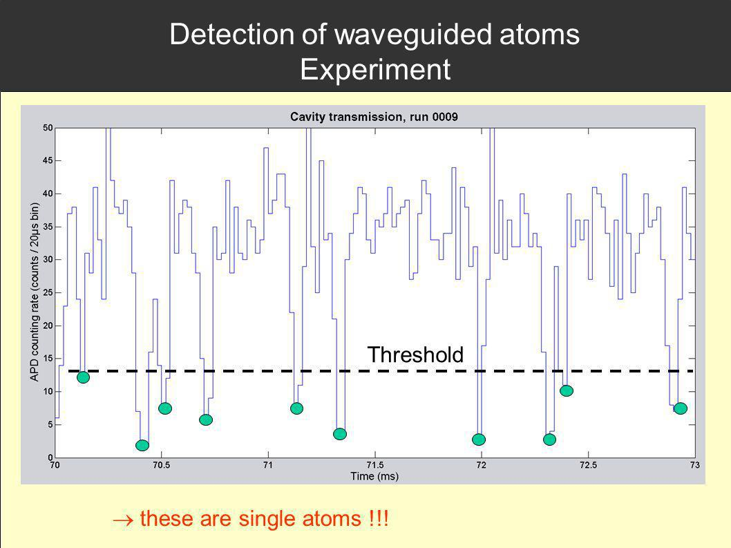 Detection of waveguided atoms Experiment