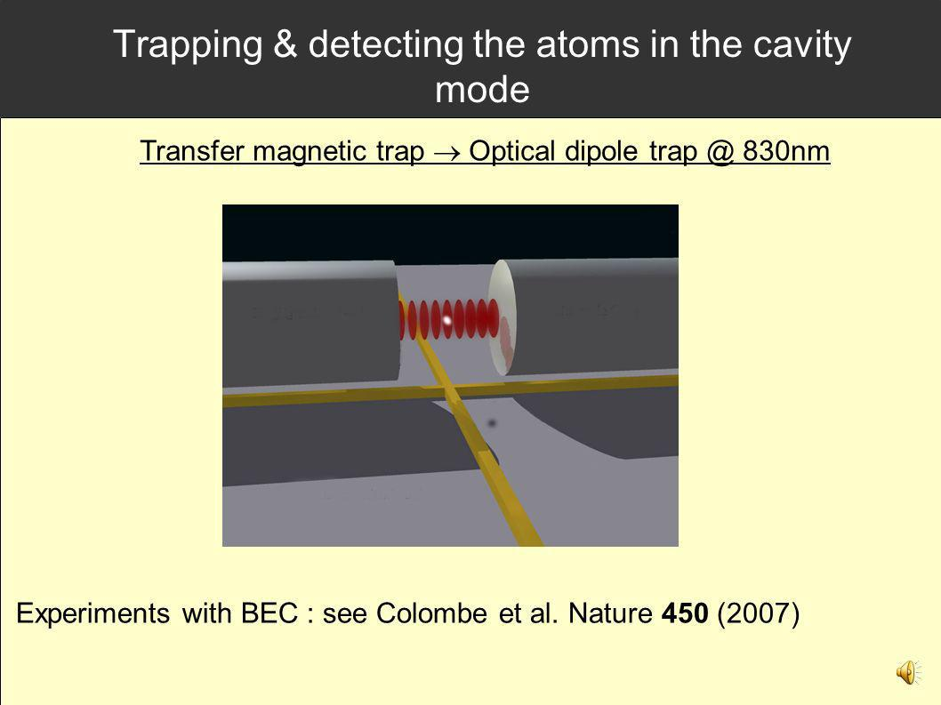 Trapping & detecting the atoms in the cavity mode