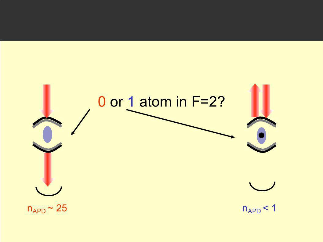 0 or 1 atom in F=2 nAPD ~ 25 nAPD < 1