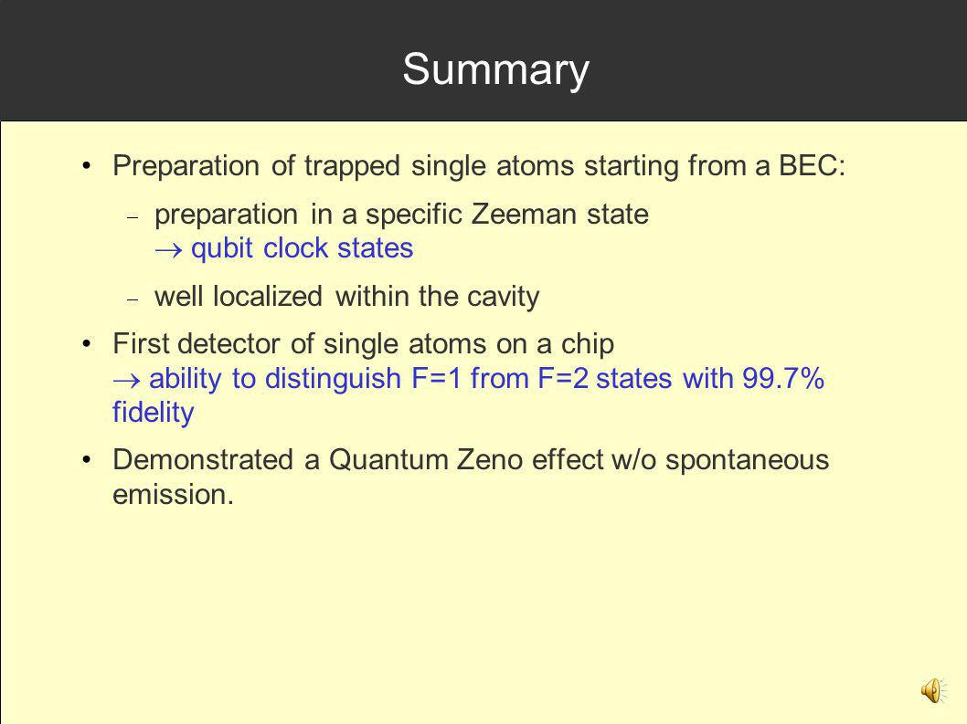 Summary Preparation of trapped single atoms starting from a BEC: