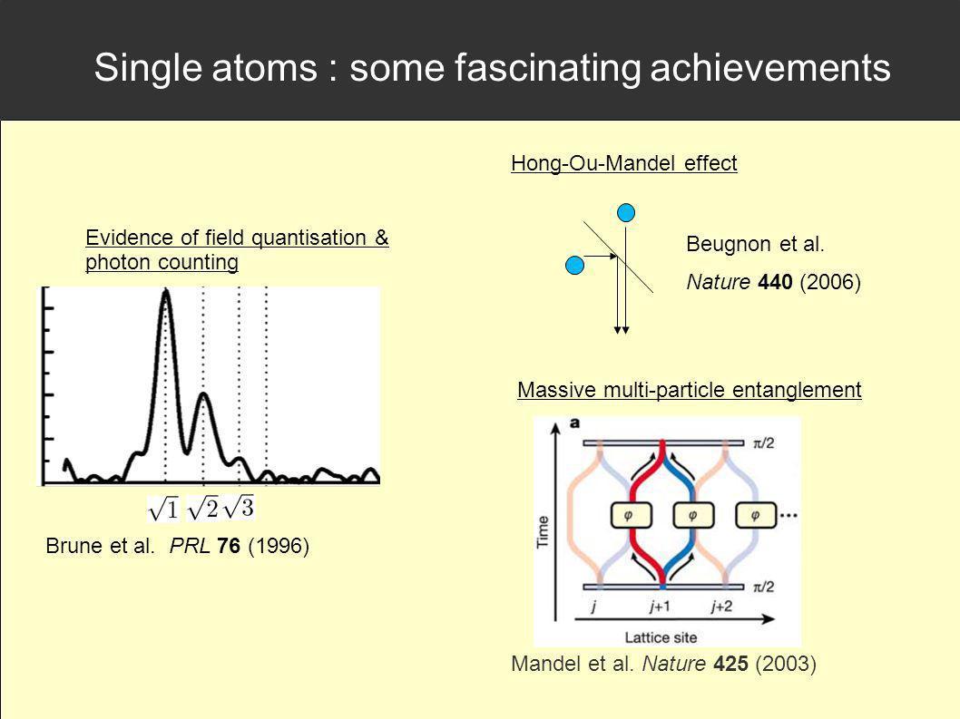 Single atoms : some fascinating achievements