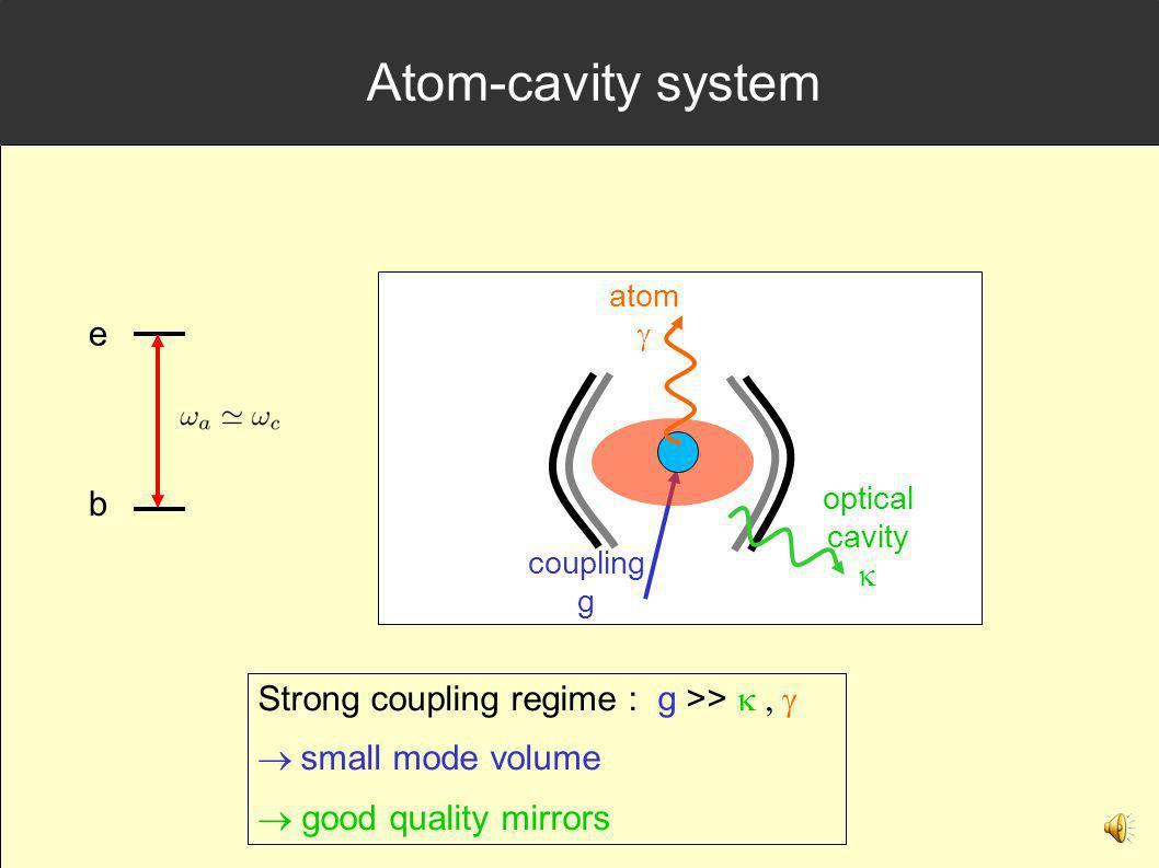 Atom-cavity system e b Strong coupling regime : g >> k , g