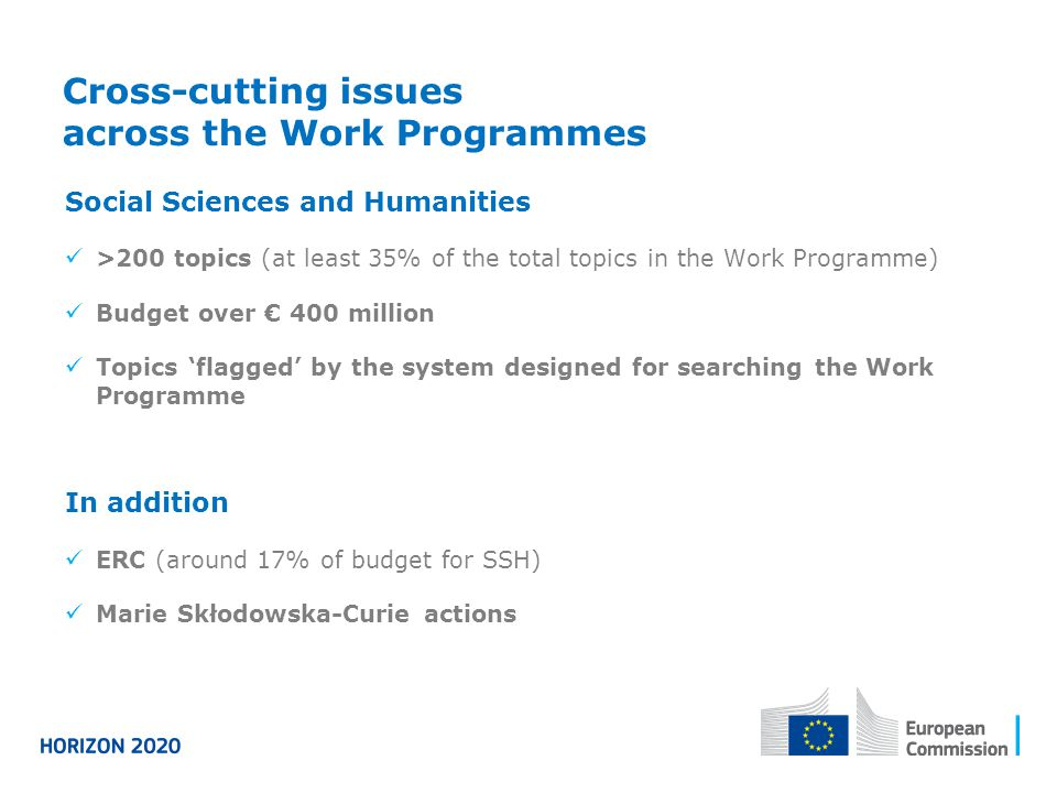 Cross-cutting issues across the Work Programmes