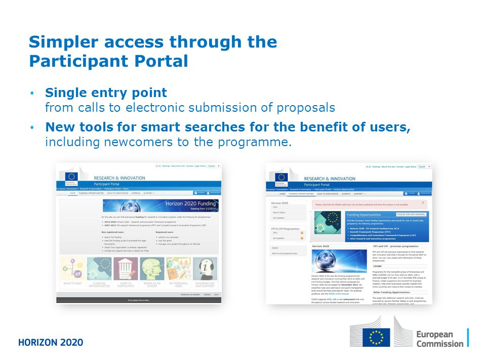 Simpler access through the Participant Portal