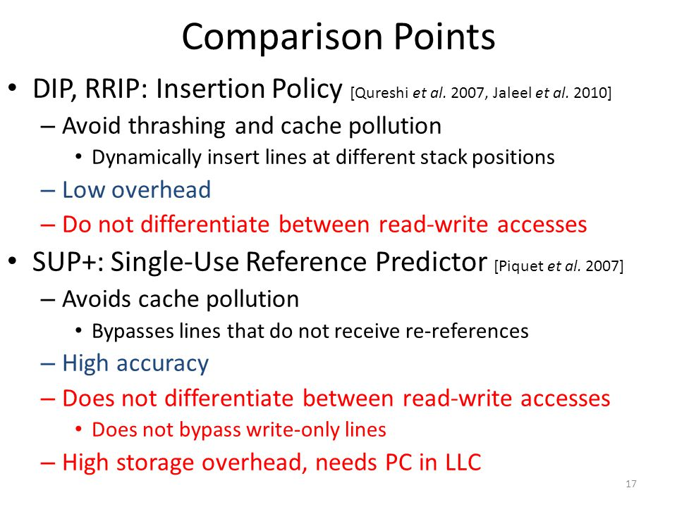 Comparison Points DIP, RRIP: Insertion Policy [Qureshi et al. 2007, Jaleel et al. 2010] Avoid thrashing and cache pollution.