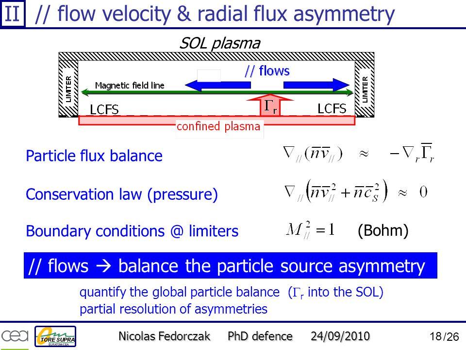 // flow velocity & radial flux asymmetry